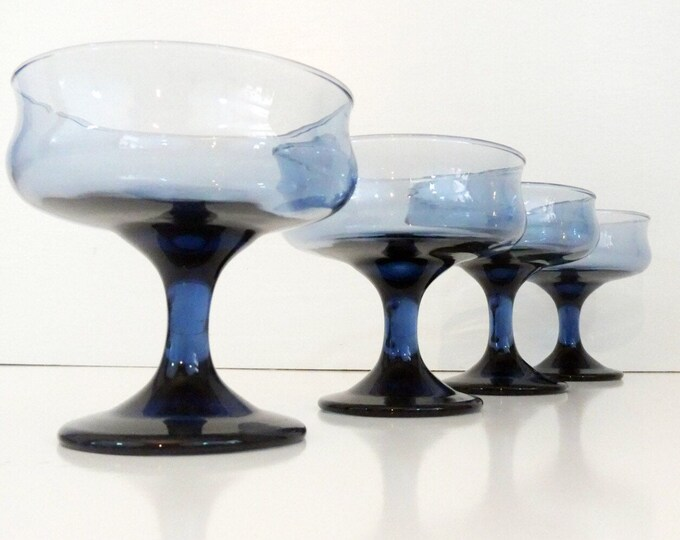 Vintage Set 4 Libbey Rock Sharpe Sherbet Glasses Dusky Blue Champagne Sherbet - Libbey Solid Dusky Blue Tulip Pattern Stemware - Libbey 1974