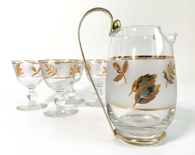 Vintage Libbey Golden Foliage Cocktail Set - Retro Pint Pitcher w/ 4 Glasses - Detachable Gold Metal Handle Mad Men Era Mid Century Barware