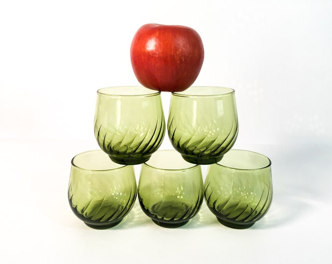 Vintage Green Juice Glasses - 5 Retro Swirl Low Ball Glass Set of Five - Retro Mid Century Semi Roly Poly Barware Drinkware