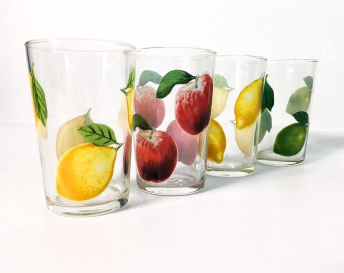 Set of 4 Vintage Fruit Design Juice Glasses - Red Green Yellow Apple Lemon Lime - Retro Glassware - Mid Century Drinkware