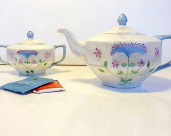 Antique Handpainted Z. S. & Co. Bavaria Signed Teapot w/ Sugar Bowl - Scherzer Art Deco Era Iridescent Floral Teapot w/ Creamer Porcelain
