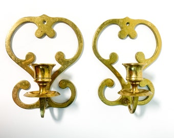 Vintage Pair of Brass Sconces / Candleholders / Candle Holders Wall Decor Set of 2 Solid Brass - Mid Century Modern Design - Pair of Sconces