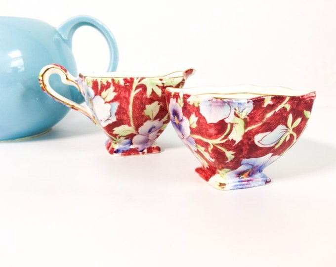 Royal Winton June Festival Pattern Ascot Straight Open Sugar & Creamer Set Serving Chintz China
