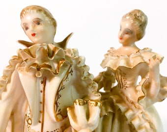 Vintage Victorian Porcelain Statues Figurines Man & Woman Relco Bone China Made in Japan - Hand painted Couple Mid Century Home Decor Kitsch