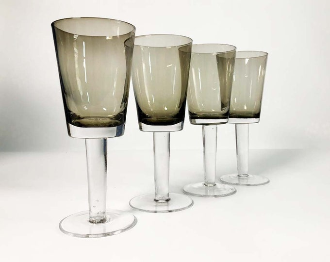 Vintage Set of 4 Smokey Grey Wine Glasses Goblets - Clear Stemmed Barware / Drinkware - Mid Century Danish Modern Mod Design - Retro Bar
