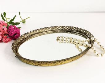 Vintage Oval Vanity Tray or Mirror - Large Mirrored Tray with Gold Edges - Shabby Chic Hollywood Regency Decor