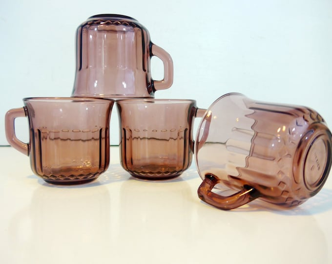 Vintage Set of 4 Purple Glass Mugs Set w/ Ribbed Sides - Four Colored Glass Mugs Made in Mexico -