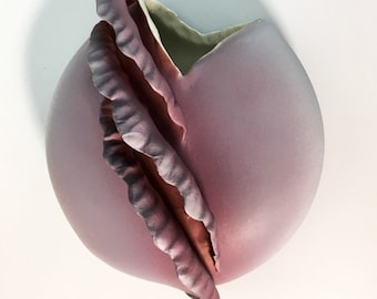 Vintage Mod Pottery Round Pocket Vase - Mauve / Light Purple Wall Decor - Hand Made Signed Dated 1984 Retro Home Sylvia Ferguson Brouga