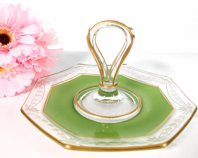 Vintage Small Green Etched Glass Center Handle Tray 8 Sides w/ Gold Trim - Retro Depression Glass Snack Serving Dish Circa 1940s
