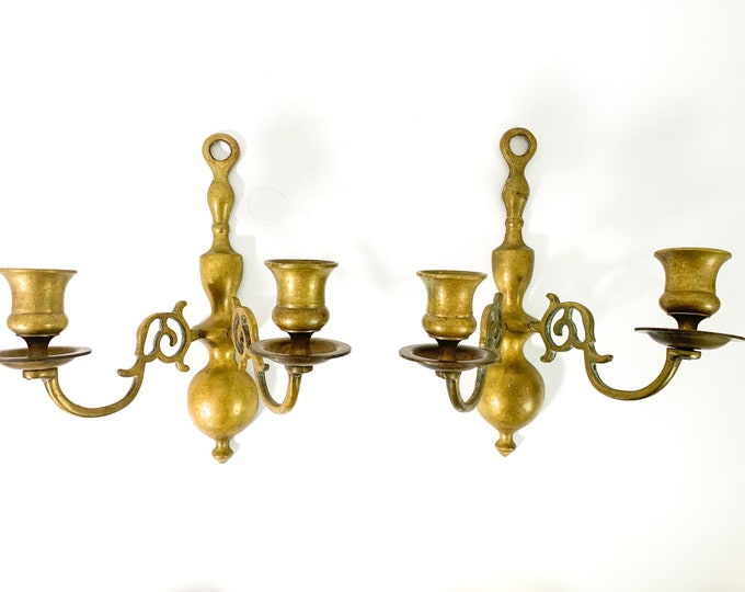 Vintage Pair of Brass Sconce Candleholders - 2 Solid Brass Sconces - HB Hallmarked Brass Wall Sconces