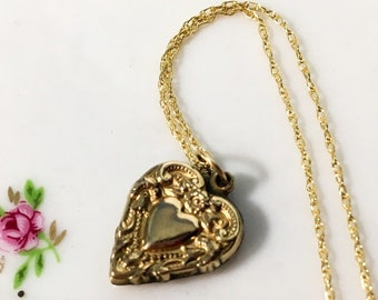 Antique 10K Gold Filled Heart Pendant Necklace - Vintage Petite Embossed & Monogrammed Heart Charm on 14K GF Fine Double Rope Chain