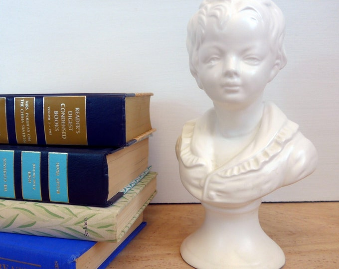 1960s Napco Ware White Ceramic Boy Bust - Mid Century Napco Bust - Shabby Chic Home Decor - Library Decor