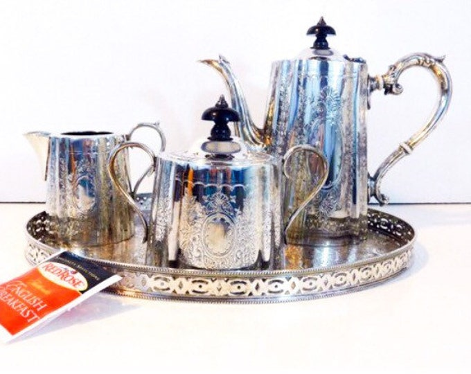 Antique Edwardian Silver Plate Barker Ellis Tea Service w/ Oval Serving Tray - Etched Silverplate Teapot Creamer Sugar Tray Set Made England