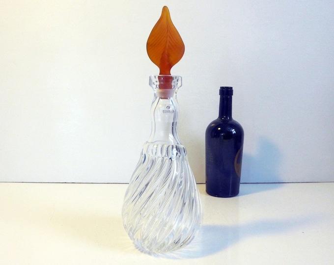 Zodax Decanter w/ Original Label Unique Amber Glass Stopper - Vintage Barware - Made in Portugal Clear Swirl Base