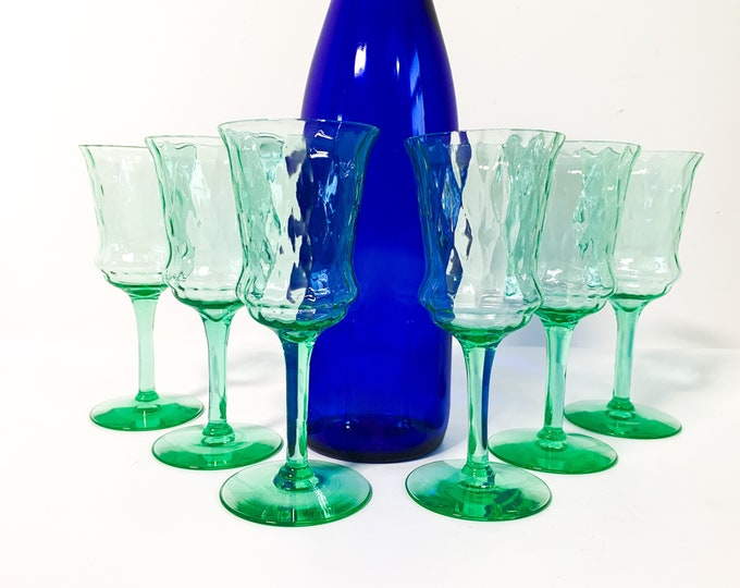 6 Vintage Green Diamond Optic Wine Glasses by Tiffin Franciscan - Set Six Retro Stemware Barware - Entertaining Dining