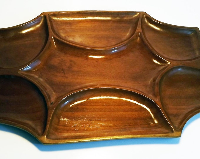 Vintage Cherry Wood / Wooden / Carved Serving Tray - Sectioned Platter - Very Large - Mid Century Modern Design - Home Decor / Entertaining