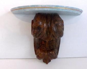 Vintage Wood Shelf Shabby Chic Two Tone Shelf - Carved Wood Shelf - Blue Top w/ Carved Wood - Shabby Chic or Cottage Chic Shelf