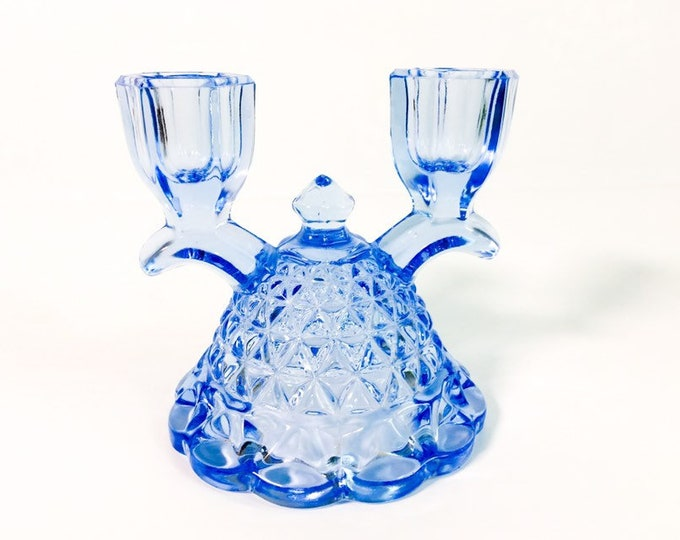 Vintage Blue Imperial Glass Katy Double Candlestick Holder - Light Blue Glass w/ Diamond Shaped Scalloped Edge - Retro Home Decor Ca 1930