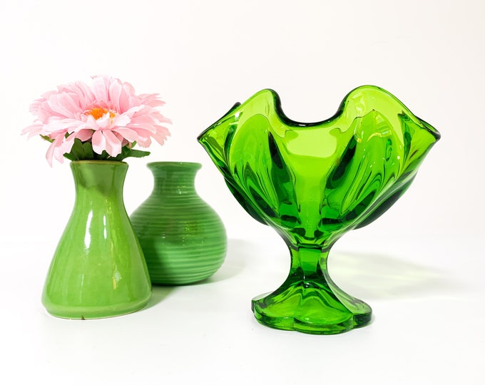 Vintage Glass Ruffled Green Candy Compote - Glass Pedestal Dish Frilled Edges Scalloped Base Mid century Viking Home Decor Housewarming Gift