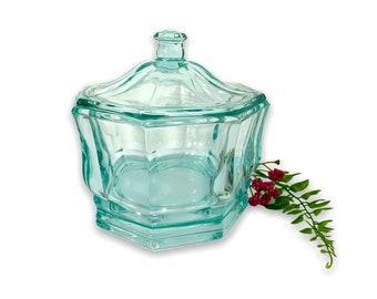 Vintage Heavy Aqua Green Glass Candy Jar w/ Lid - Storage Jar Indiana Glass Container Wedding Table Display Decor Aquamarine