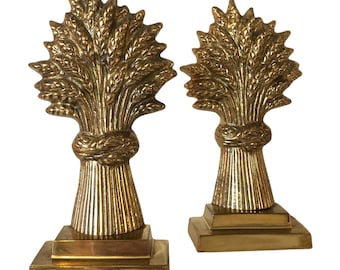 Brass Wheat Stalk Bookends - Vintage Bookends - Pair of Solid Brass Set of 2 Vintage Brass Wheat Stalk Bookend MCM Home Decor Office Library