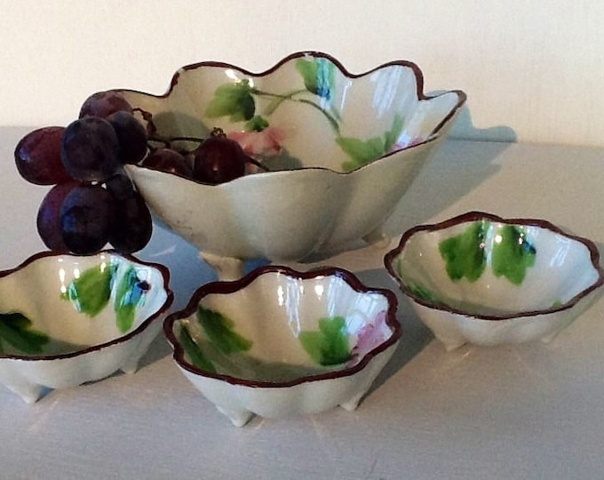 Hand Painted Japan - 1 Large Bowl with 3 Small Bowls - Vintage Bowls  - Set of 4 Japanese Bowls