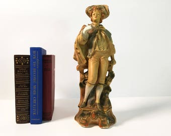 """Vintage 14"""" Tall Chalkware Statue Gentleman - Shabby Chic Colonial Man Circa Mid Century - Chippy Figurine Wearing 18th Century Clothes"""