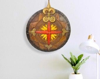 Vintage LARGE Metal Compass Rose Wall Hanging - Sexton Nautical Round Wall Art Retro Mid century Decor