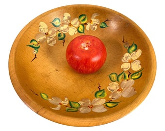 Vintage Woodcroftery Wood Fruit Bowl Hand painted Flowers - Granny Chic Primitive Centerpiece Country Farm Shabby Decor Yellow Floral MCM