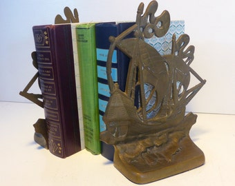 Vintage Nautical Brass Bookends - Old Ships HEAVY Beach Cottage Chic Ship / Boat Home Decor - Library Decor