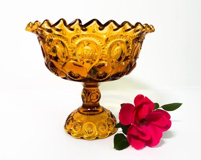 Amber L E Smith Glass Moon Stars Flared Compote - Pedestal Dish Retro Art Glass Vintage Retro Home Decor