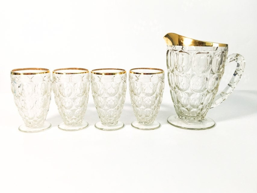 Vintage Juice Set Pitcher Glasses Set Thumbprint W Gold Trim