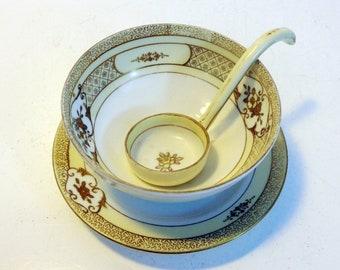 Antique Noritake Gravy Bowl w/ Ladle & Saucer - Hand painted Ivory, Pale Yellow Gold Flower Japan - Vintage Serving Condiment Bowl w/ Spoon
