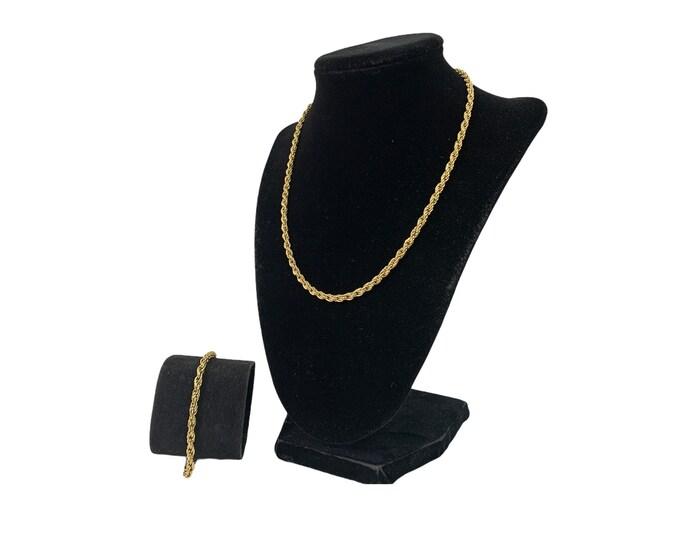 "Vintage Necklace & Bracelet Set - Gold Tone Rope Chain - 18"" Necklace w/ Matching Bracelet"