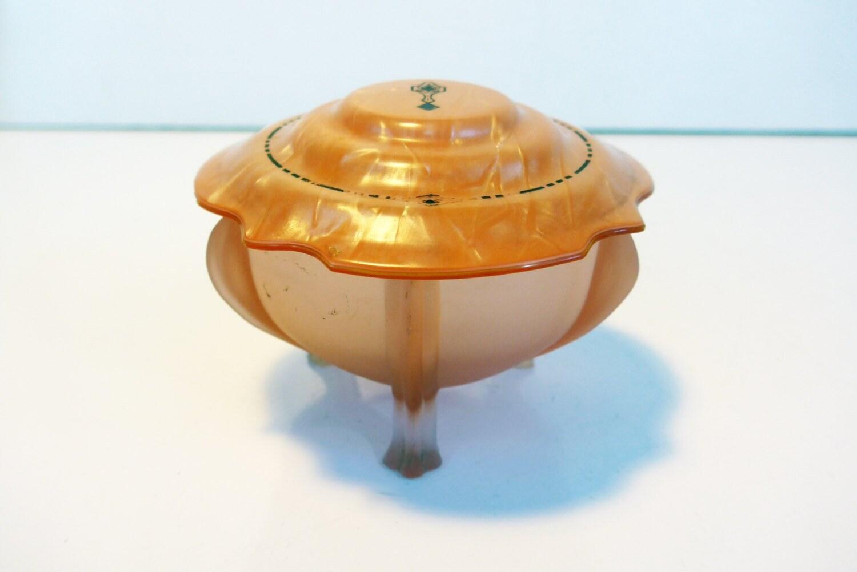 Vintage Art Deco Pink Satin Glass Celluloid Vanity Trinket Dish