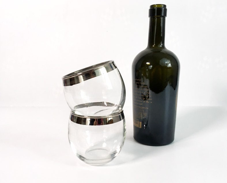 c4c393d37fef ... Silver Rim Drinking Glasses - Vintage Dorothy Thorpe Style Mid Century  Modern Barware - Cocktail. gallery photo ...