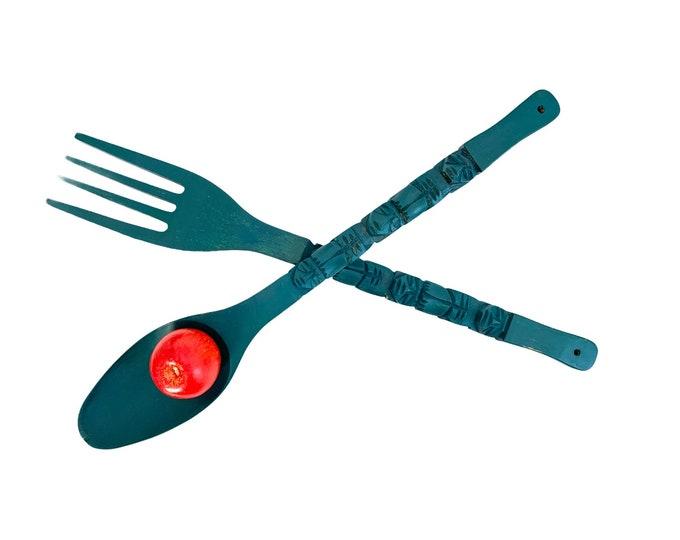 Retro LARGE Oversized Teal Blue/Green Wooden Spoon & Fork Set - Vintage Mid Century BoHo Kitsch Wall Art or Decor - Carved Wood Set