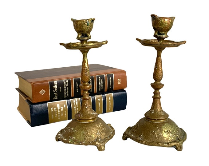 Pair Vintage Brass Candlesticks w/ Embossed Bird Butterfly Leaves - Matching Set of 2 Ornate Candle Stick Holders - Unique Retro Home Decor
