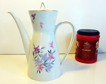 Mid century Rosenthal Coffee Pot & Lid - GERMANY - White with Pink Purple Green Florals Mod Modern Ironstone White w/ Gold Trim on Lid