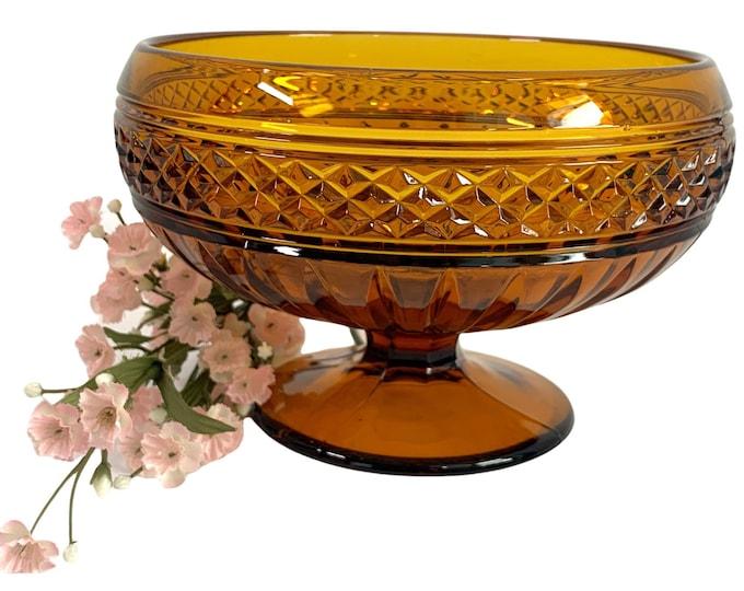 Amber Mt Vernon Glass Compote by Viking - Diamond Point Pedestal Dish Retro Art Glass Vintage Retro Home Decor