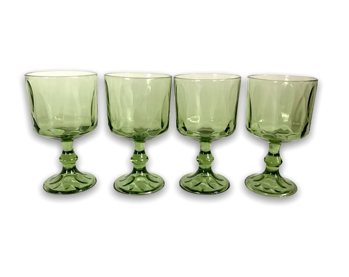 4 Vintage Avocado Green Glasses or Goblets - Dining Drinkware Set of Four Mid century Glass