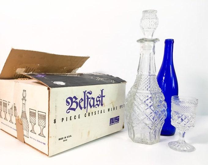 Vintage Belfast Crystal 8 PC Decanter Set - Retro 6 Wine Glasses w/ Decanter & Stopper in Box 1976