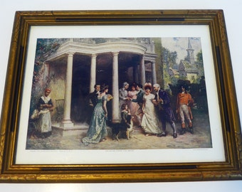 Antique / Vintage Gerlach-Barklow Print in Wood Frame 1907 Colonial Scene Bringing Home the Bride by Ferris - Shabby Chic Decor - Wall Decor