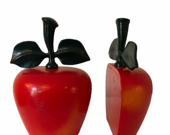 Pair of Vintage Cast Iron Apple Doorstop - or Book Ends Heavy Matching Set of 2 - The Imperial Collection Made in Taiwan R.O.C. ROC
