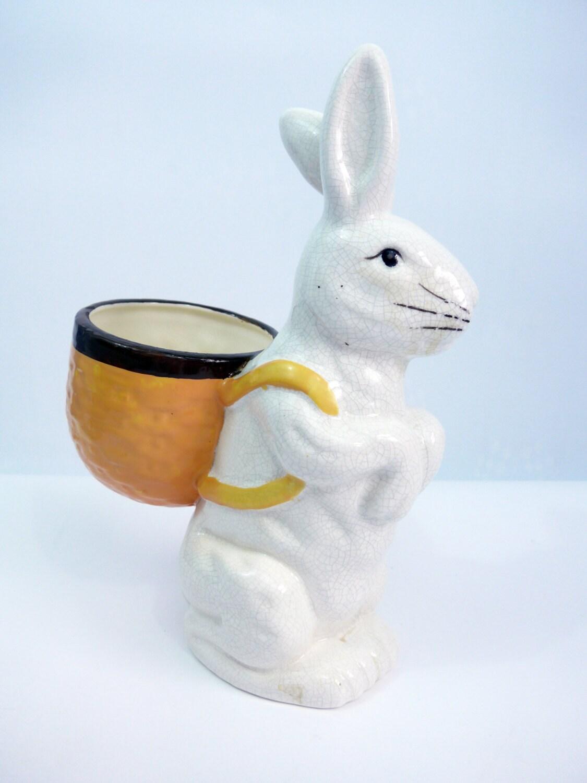Vintage Mosaic Rabbit Planter Heavy