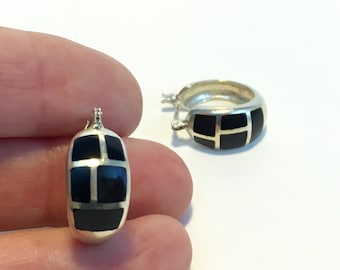 Vintage Silver Silver and Black Onyx Round Post Earrings - Circle Block 1980s Design - Square Black Onyx Stones - Marked 925 Sterling Silver