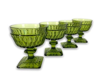 Vintage Champagne Low Sherbet Glasses Indiana Glass Mt Vernon Green - Avocado - Four Coupes w/ Square Base - Retro Barware Set of 4 Dining