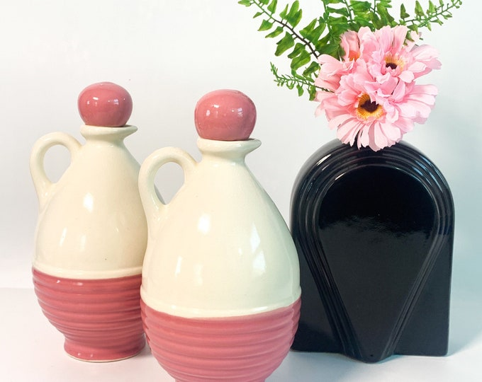 Vintage Mohawk Pottery Liquor Jugs Pink & Ivory or Off-white Ewers - 2 Large Jugs w/ Round Ceramic Cork Stoppers - Retro Rustic Home Decor