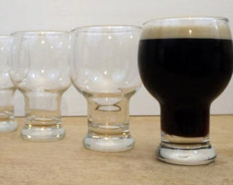 Set of 4 Vintage Retro Beer Glasses Water Goblets - 4 Clear 16 oz. Each - Funky Stemware - Federal Glass Company - Circa 1960s/1970s