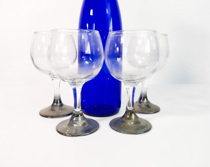 Vintage Set of 4 Silver Ombre Stemmed Wine Glasses - Ombre Lusterware - Mid Century Modern Barware - Mad Men Style Retro Wine